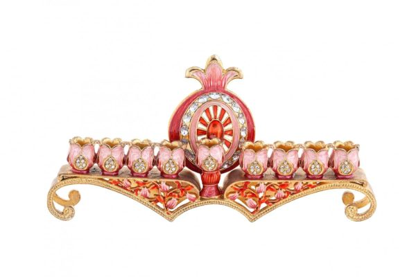 Enamel Chanukkiah with pomegranate decoration
