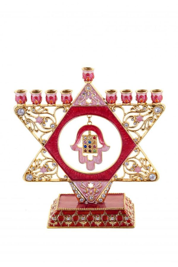 Star Of David Chanukkiah With Hamsa