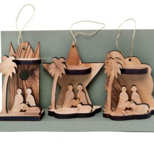 Three Olive Wood Christmas Ornaments