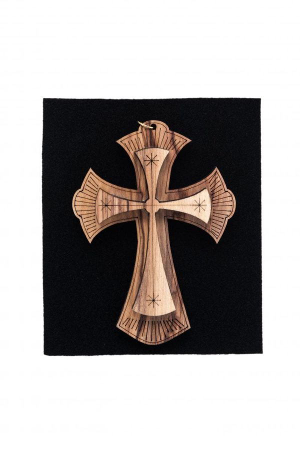 Small Olive Wood Double Cross