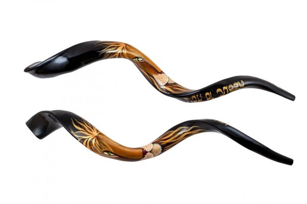 Yemenite Shofar Hand Painted