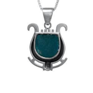 The Harp of David Nano-Bible Pendant with Roman Glass