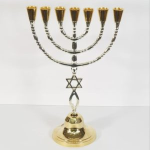 Grafted-in Brass Menorah – Large, Silver and Gold
