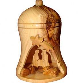 Olive Wood Christmas Bell Ornament