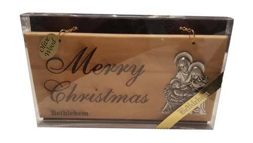 Olive Wood Merry Christmas Plaque