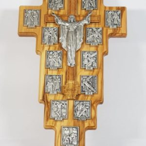 Olive Wood Crucifix with 14 Way of the Cross Scenes