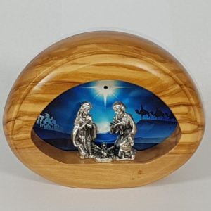 Olive wood small battery-powered Nativity Scene with light
