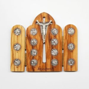 Olive Wood Crucifix with 14 Way of the Cross Scenes, with bendable edges