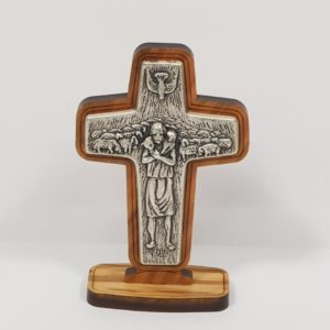Olive Wood Cross with Silver Plated Shepherd, Sheep and a Dove