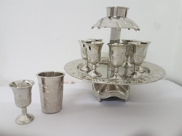 Silver plated wine sommelier for kiddush on a stand