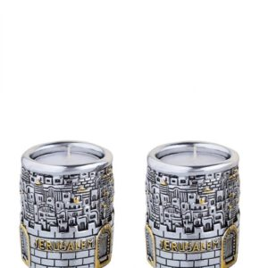Silver plated Jerusalem Candle Holders for Shabbat