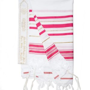 Acrylic Tallit Prayer Shawl (Pink)