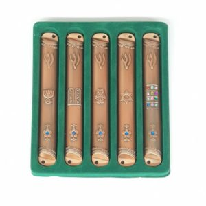 Brass Mezuzah, set of 5