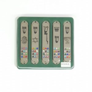 Galvanized Metal Mezuzah, set of 5