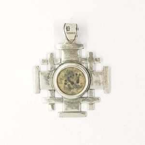 """Widows Mite"" Sterling Silver Jerusalem Cross Pendant"