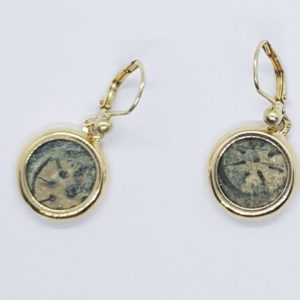 """Widow's mite"" Alexander Yannai Maccabean Coin Earrings, Set in 14K Gold"
