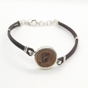 Leather and Sterling Silver Bracelet with Constantine Coin