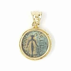 Lily of Jerusalem Coin in 14K Gold Pendant