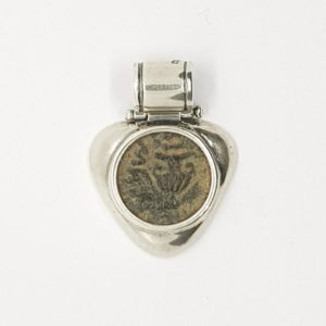 Sterling Silver plated Hear-shaped Pendant with Masada coin