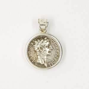 """""""Tribute Penny"""" Silver Coin Set in a Sterling Silver Setting – Tiberius"""