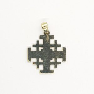 14K Gold Jerusalem Cross Pendant with Nano-Bible