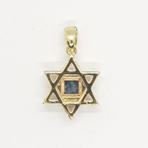 14K Gold Star of David Pendant with Nano-Bible
