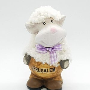 Ceramic and wool lambs